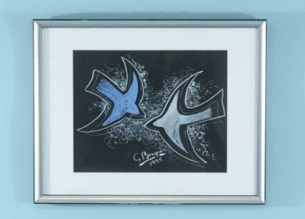 "47B: GEORGES BRAQUE ""TWO BIRDS"" GOUACHE ON PAPER"