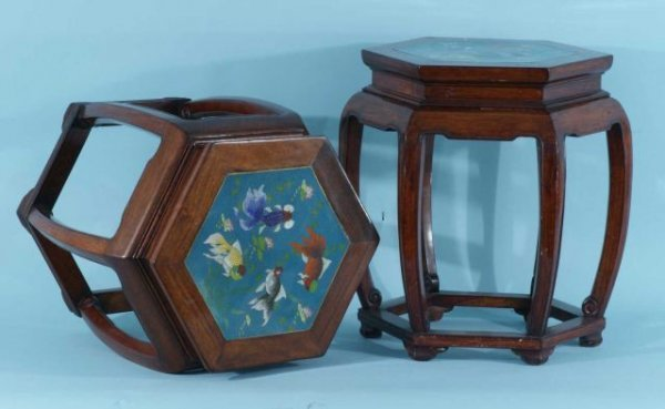 7: ORIENTAL ROSEWOOD LAMP TABLES WITH CLOISONNE TOPS