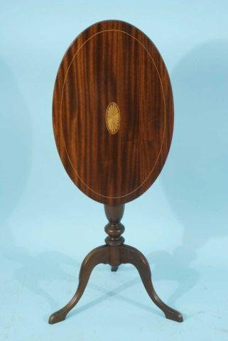 5: MAHOGANY INLAID TILT-TOP END TABLE, CIRCA 1850