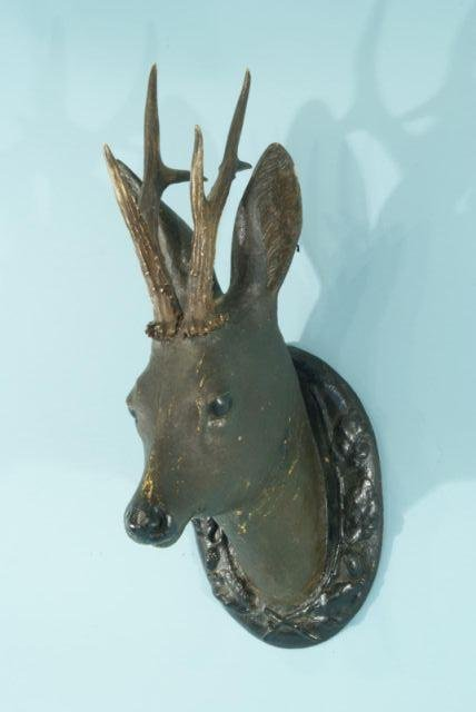 9: 19th CENTURY BLACK FOREST WOOD CARVED DEER TROPHY