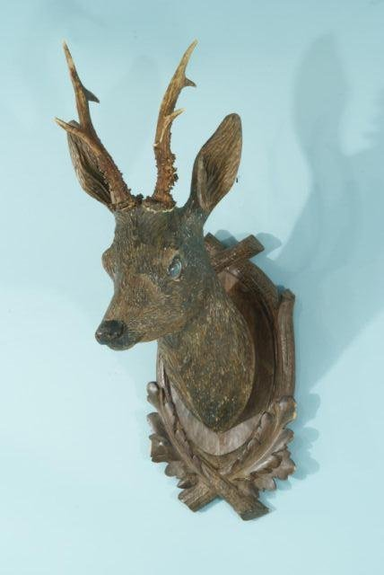 10: 19th CENTURY BLACK FOREST CARVED DEER TROPHY