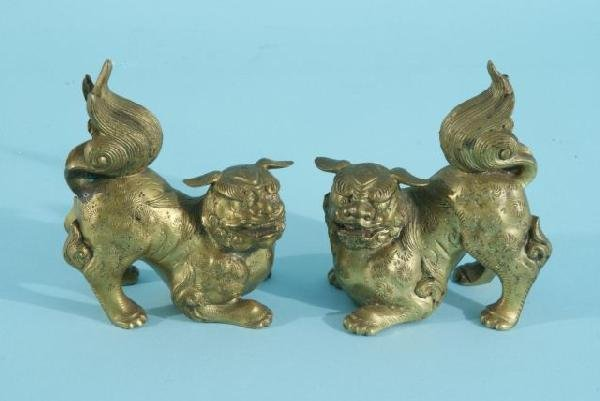 11: PAIR OF BRASS FOO DOG STATUES