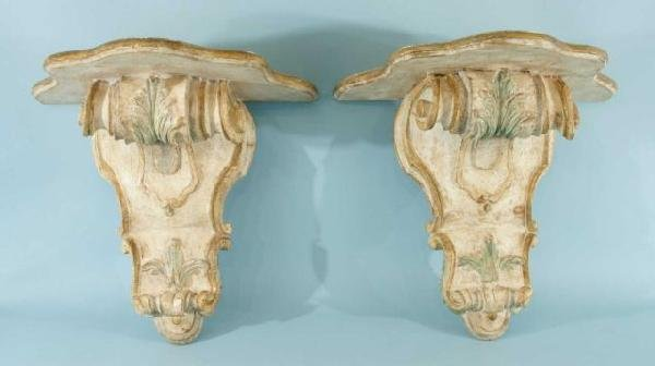 14: ITALIAN WOOD CARVED & PAINTED BRACKETS, CIRCA 1820