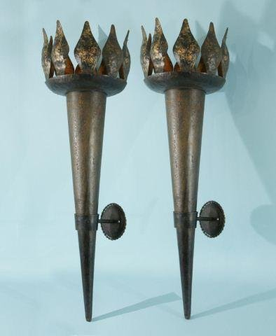 16: VINTAGE FRENCH TORCHES WITH BRACKETS, CIRCA 1930