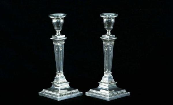 21: PAIR OF STERLING SILVER CANDLESTICKS