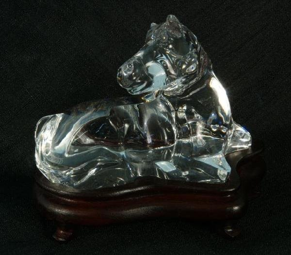 2: BACCARAT SEATED HORSE FIGURE ON WOODEN BASE