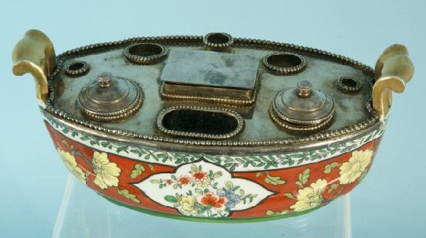 3: FRENCH PORCELAIN & SILVERPLATED INKWELL SET