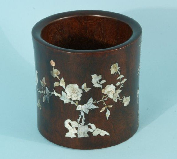 7: ROSEWOOD BRUSH POT INLAID WITH MOTHER-OF-PEARL