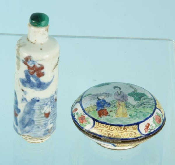 11: 19TH C CHINESE SNUFF BOTTLE AND BOX.