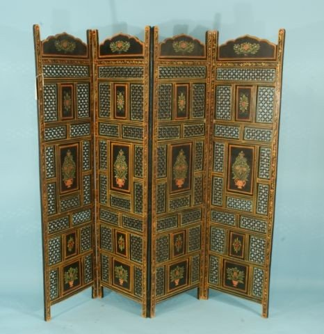 14: FOUR-PANEL HAND PAINTED PRIVACY SCREEN