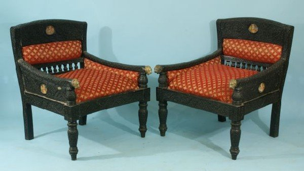 16: PAIR OF HIGHLY HAND CARVED MAHARAJA CHAIRS