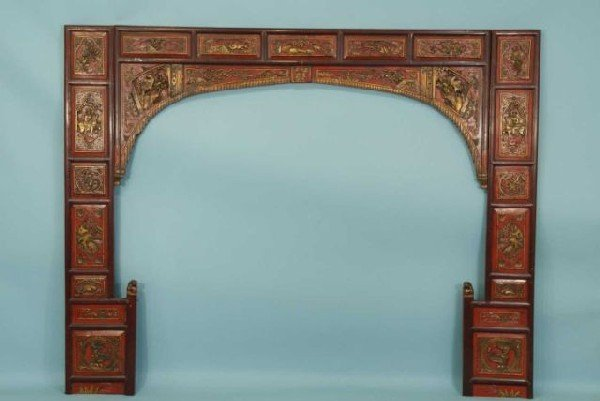 18: ANTIQUE CHINESE WEDDING BED FACING.
