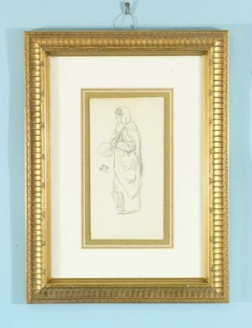 "21A: JAMES WHISTLER ""WOMAN HOLDING FAN"" CHARCOAL/PAPER"