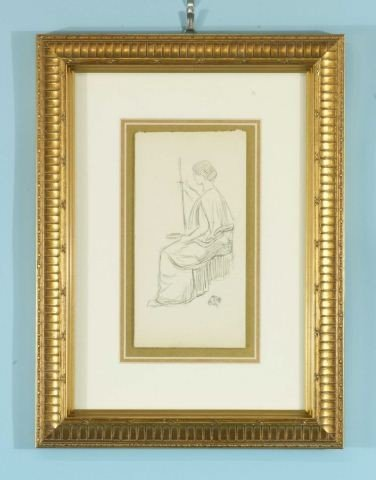 "21B: JAMES WHISTLER ""SEATED WOMAN"" CHARCOAL/PAPER"