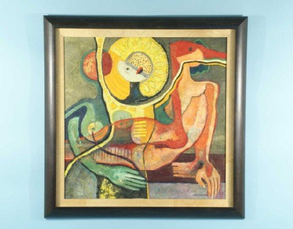 "6: ANCHUNDIAH ""ABSTRACT FIGURES"" OIL ON CANVAS"