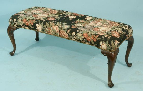 9: QUEEN ANNE STYLE BENCH WITH FLORAL UPHOLSTERY
