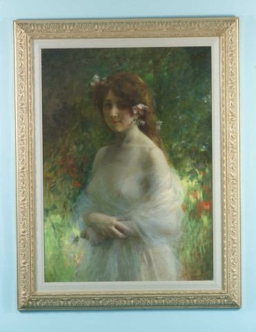 "18: J. TEIQUEL ""PORTRAIT OF YOUNG LADY"" PAINTING"