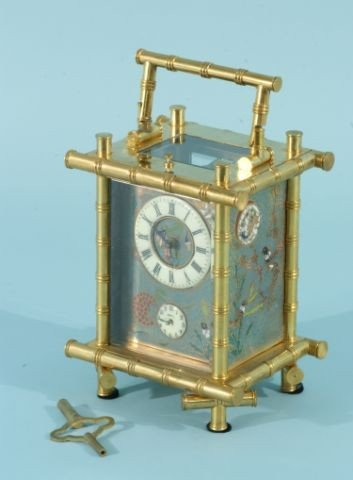 20D: GILT BRONZE AND ENAMELED REPEATER CARRIAGE CLOCK