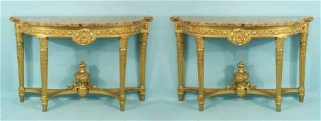 25: ANTIQUE FRENCH GILDED CONSOLES, CIRCA LATE 19th C.