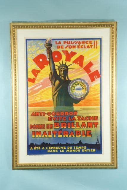 9: ANTIQUE FRENCH CAR WAX POSTER, CIRCA 1920's