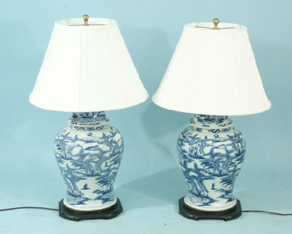 14: PAIR OF CHINESE BLUE & WHITE GINGER JAR LAMPS