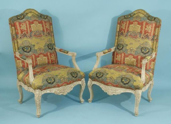 16: PAIR OF COUNTRY FRENCH STYLE HIGH BACK ARMCHAIRS