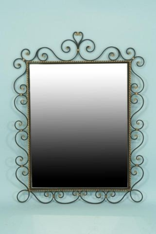 17: FRENCH WROUGHT IRON MIRROR c. 1940's