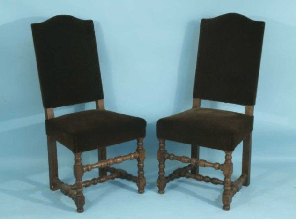 18: PAIR OF ANTIQUE FRENCH SIDE CHAIRS IN BROWN VELVET