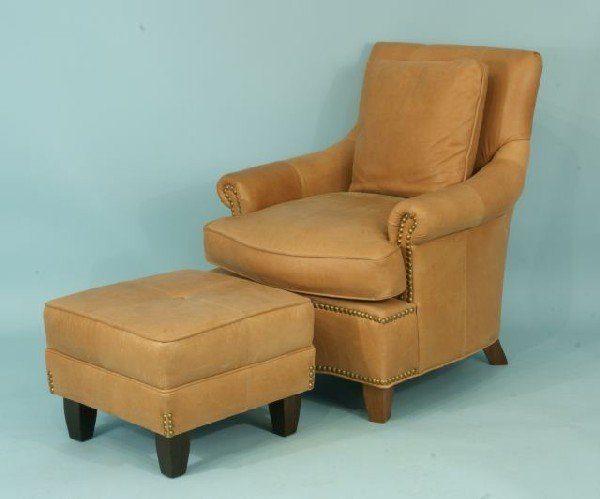 24: EXPRESSIONS CUSTOM CLUB CHAIR AND OTTOMAN