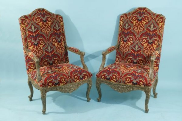 28: PAIR OF FRENCH STYLE HIGH BACK ARMCHAIRS UPHOLSTERE