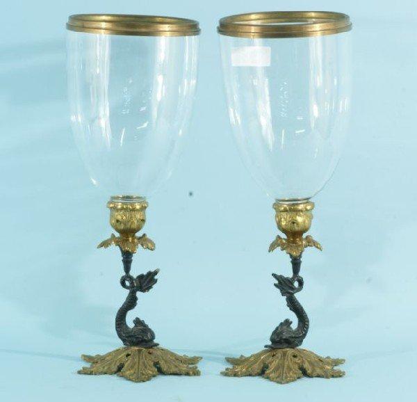 1: PAIR OF CAST BRASS DOLPHIN CANDLESTICKS