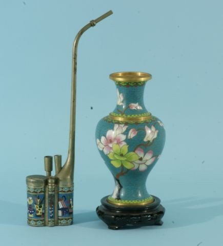 3: VINTAGE CLOISONNE OPIUM PIPE AND VASE ON STAND