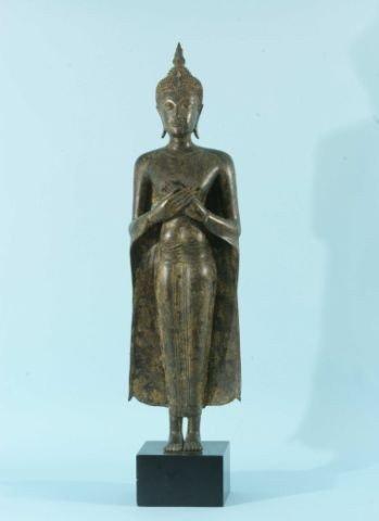 13: ANTIQUE BURMESE BRONZE BUDDHA WITH CROSSED HANDS