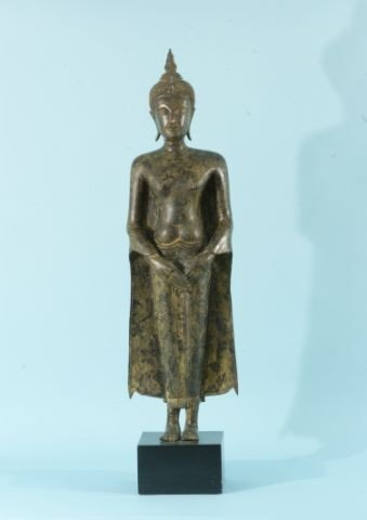 14: ANTIQUE BURMESE BRONZE BUDDHA WITH CROSSED HANDS N
