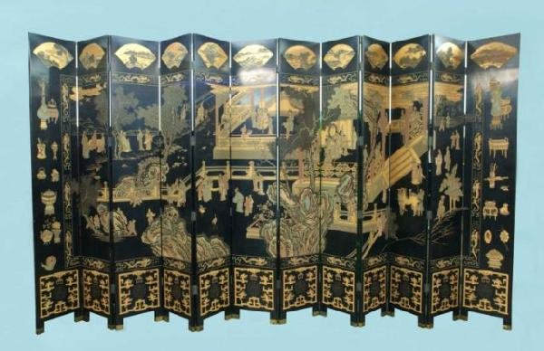 16: AN IMPORTANT CHINESE LACQUER COROMANDEL SCREEN