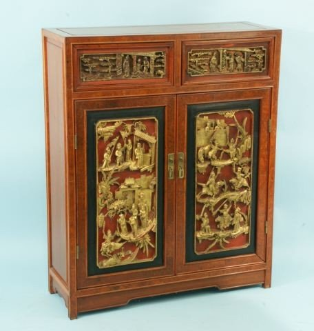 18: ORIENTAL PAINTED CABINET WITH CARVED PANELS