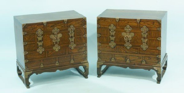 19: PAIR OF KOREAN  CHESTS ON STANDS