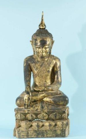 21: 18th CENTURY WOOD CARVED/GILDED BURMESE BUDDHA