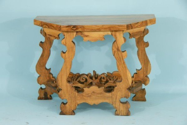 22: CARVED OLIVE WOOD CONSOLE TABLE, CIRCA 1880