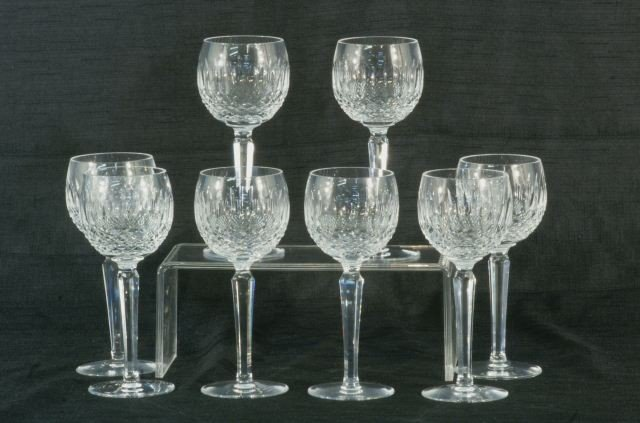 4: LOT OF EIGHT WATERFORD CRYSTAL WINE GOBLETS