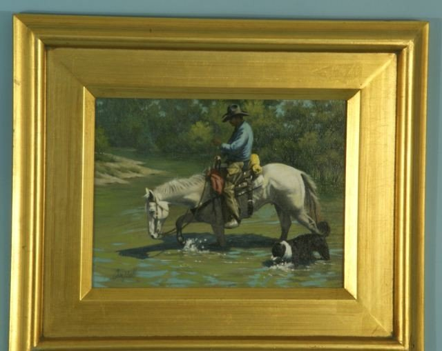"""9: DUWARD CAMPBELL """"CROSSING"""" OIL ON PANEL, 2004"""