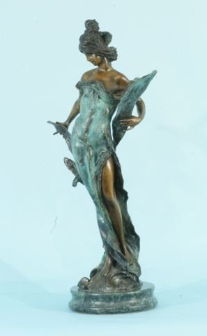 10: BRONZE FAIRY STATUE ON MARBLE BASE