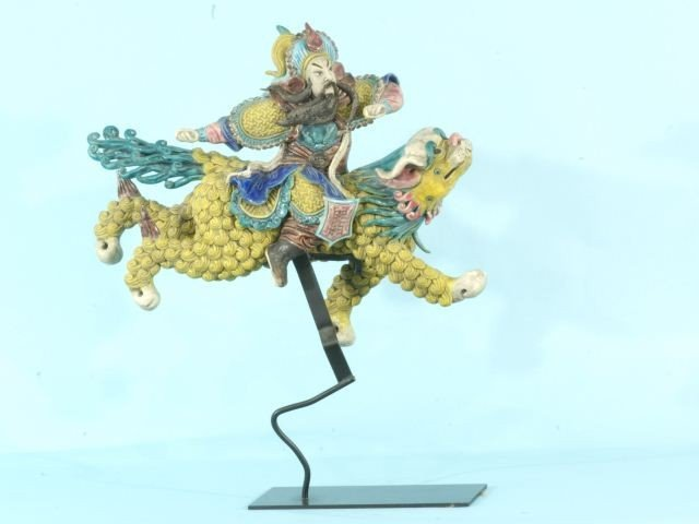 11: CHINESE ROOF TILE, RIDING HORSE WITH STAND