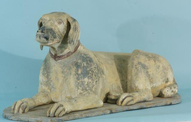 15: FOLK ART HAND CARVED WOODEN DOG