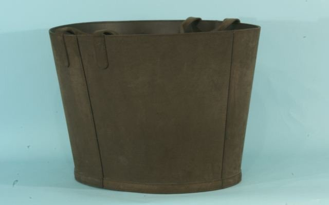 16: CHOCOLATE BROWN NUBUCK LEATHER BASKET WITH HANDLES