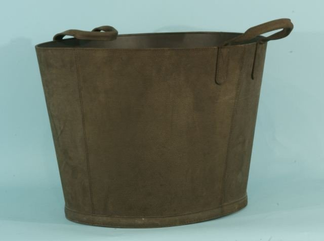 16: CHOCOLATE BROWN NUBUCK LEATHER BASKET WITH HANDLES - 2