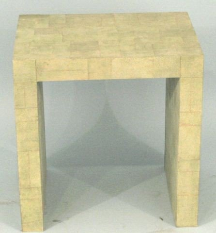 20: GREEN SHAGREEN COVERED ACCENT TABLE