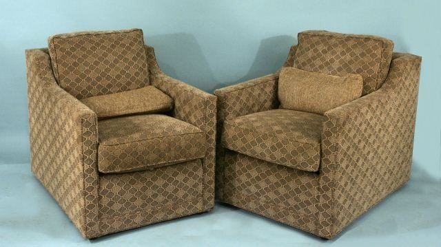 21: PAIR OF UPHOLSTERED CLUB CHAIRS