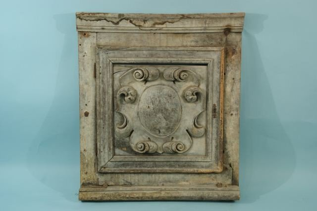 22: ANTIQUE CARVED WOOD ARCHITECTURAL PLAQUE