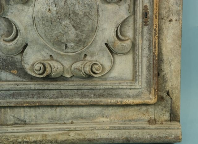 22: ANTIQUE CARVED WOOD ARCHITECTURAL PLAQUE - 5